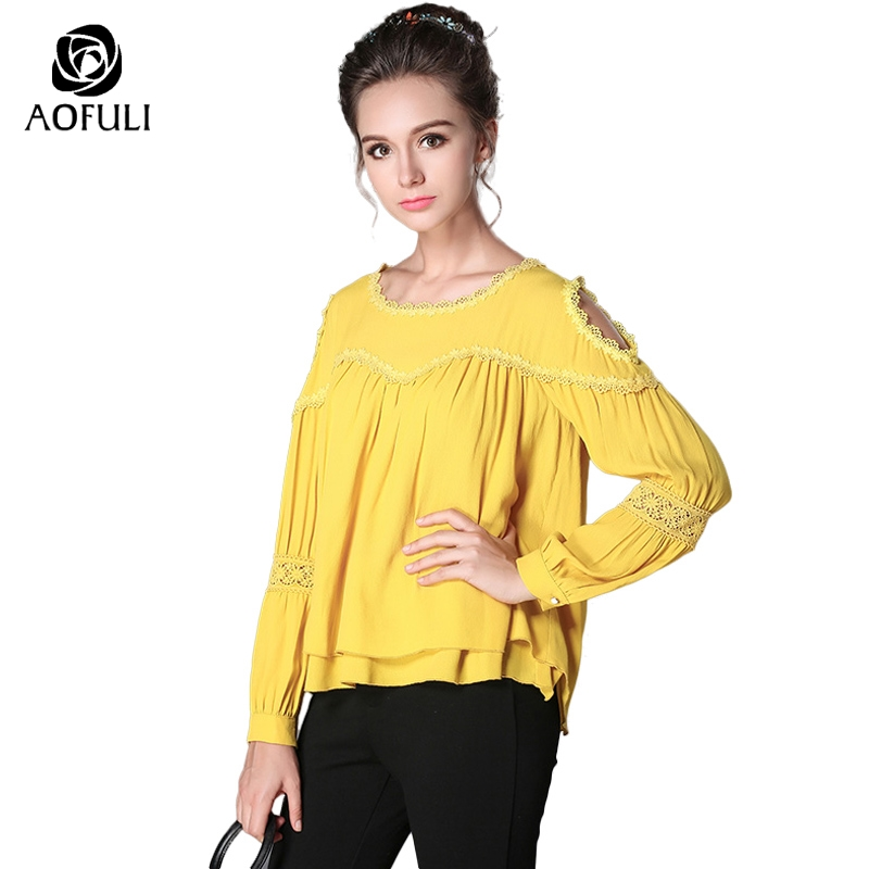 S 5XL Designer Solid Women Loose Casual Blouse Shirt Double Layers High Low Tops Hollow Out