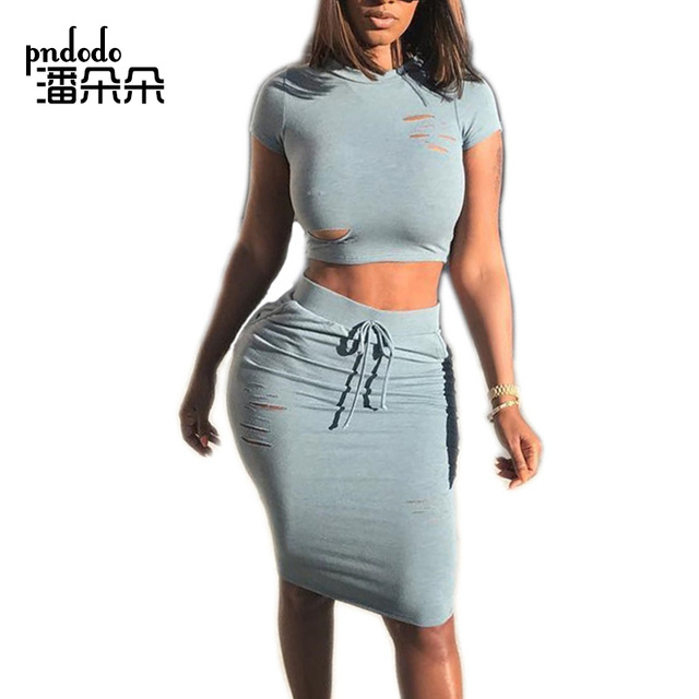 Pndodo Summer Sexy Ladies Two Piece Skirt and Crop Top Set Hollow Out Hole Dress  Women 2 Piece Dress Sets Short Sleeve Outfits 0d8dbf8e42ab