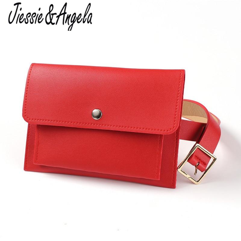 Jiessie & Angela Fashion Women Bag Leather Waist Pack Female Belt Bag Fanny Pack Casual Lady Waist Packs Phone Pouch Bags Bolos цена