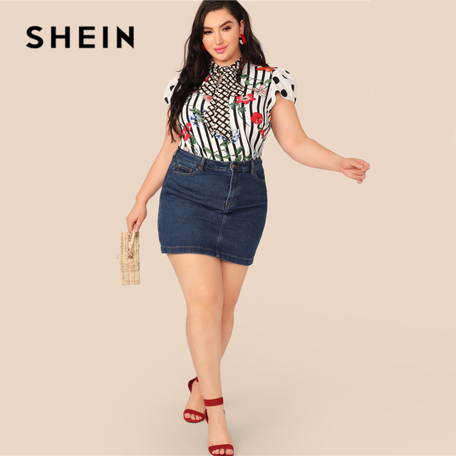 SHEIN Plus Size Multicolor Tie Neck Mixed Floral Print Top Blouse Women Summer Elegant Cap Sleeve Stand Collar Striped Blouses 3