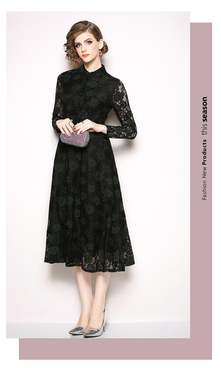 ed792d53b7735 Simgent Swing Dress Womens Autumn Winter Long Sleeve Stand Collar A Line  Lace Office Elegant Floral Dress Vestidos Jurk SG810181