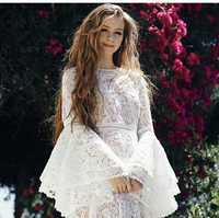 2018 spring flare sleeve white lace long dress embroidery bohemian women dresses high quality runway dress