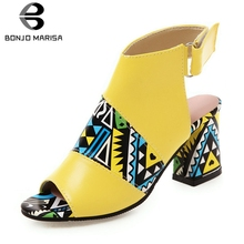 BONJOMARISA New Dropship Colored High Heels Sandals Women 2019 Summer Fashion Large Size 34-43 Elegant Shoes Woman