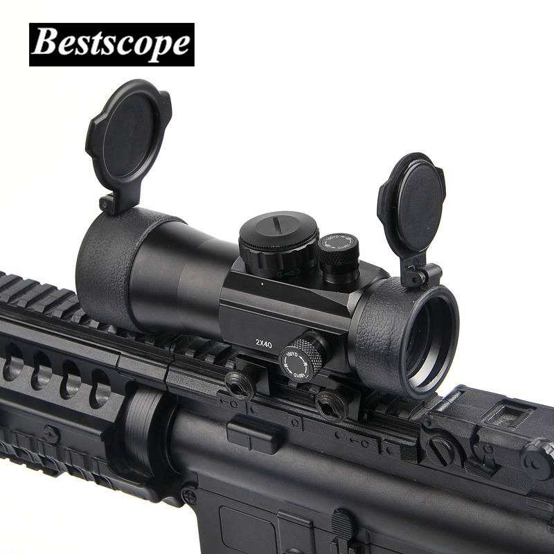 B Brand 2x40 Green Red Dot Sight Scope Tactical Optics Riflescope Fit Picatinny Rail Mount 20mm 11mm Rifle Scopes for Hunting