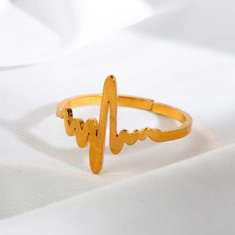 2019 ใหม่สแตนเลสสตีลแหวนผู้หญิงคลาสสิก ECG Golden Silver สีแหวนแฟชั่นเครื่องประดับงานแต่งงานของขวัญปรับขนาดได้