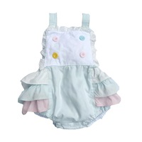 Spring Summer Baby girls sleeveless bodysuit candy color button lace cotton straps infant baby clothing