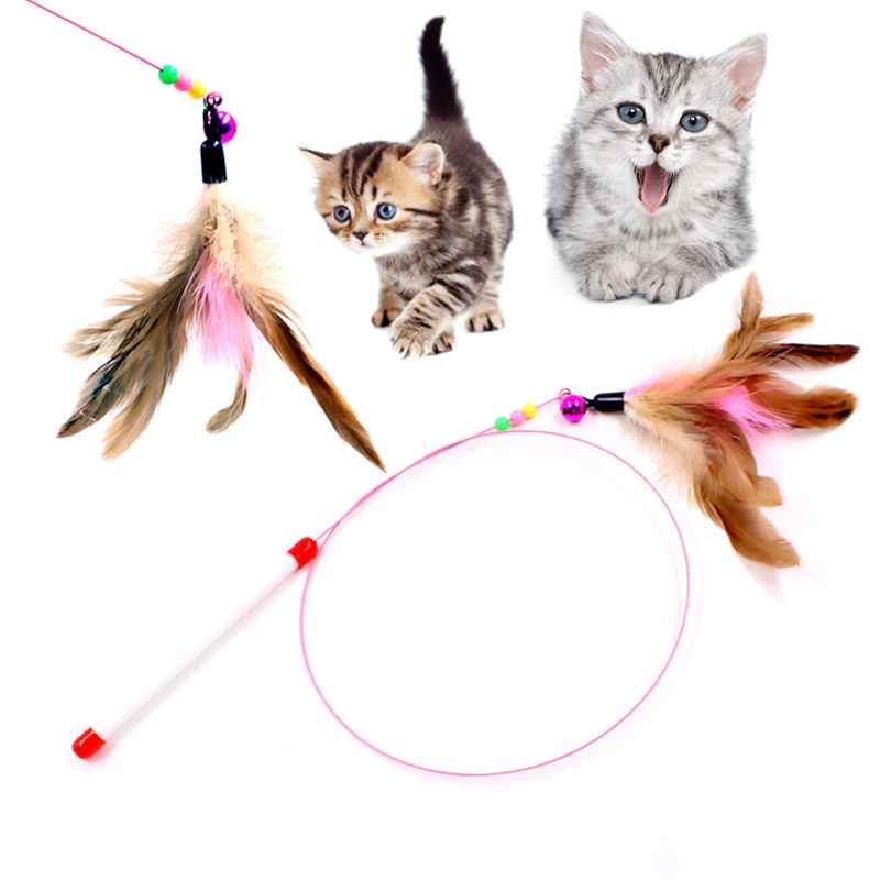 Feather Teaser Cat Toy Interactive Catcher Teaser For Kitten Cat Play Fun TB Sale ...