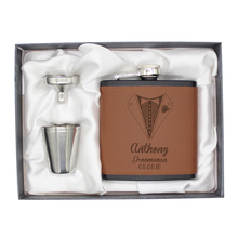 Hip-Flask-Set Groom Wedding Birthday-Party Best-Man Personalized Engraved Gift-Favors