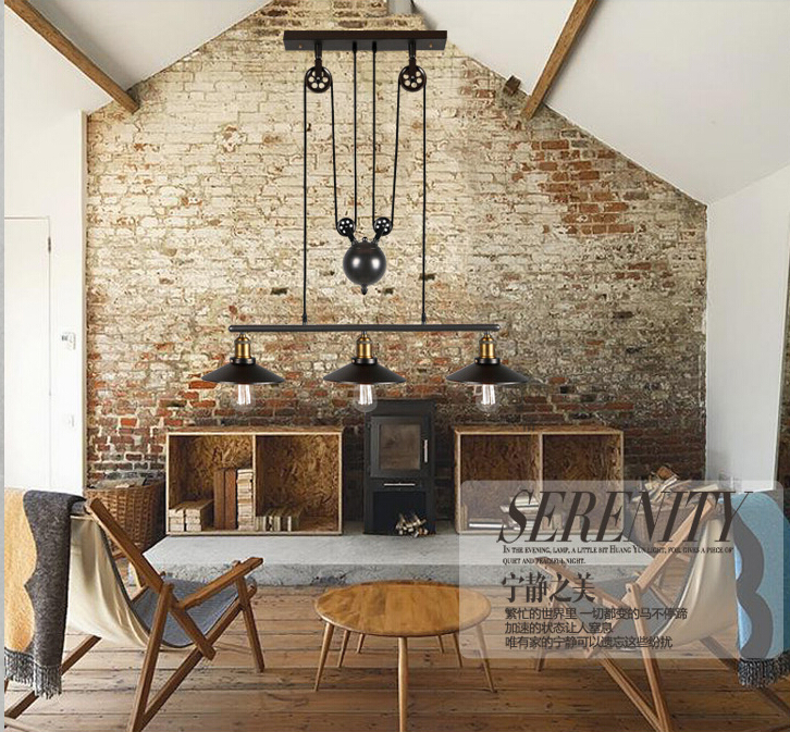 Online Shop Nordic Retro Pendant Lights American Vintage Industrial Lampshade Living Room Decoration Lighting 110 240V Creative Fixtures