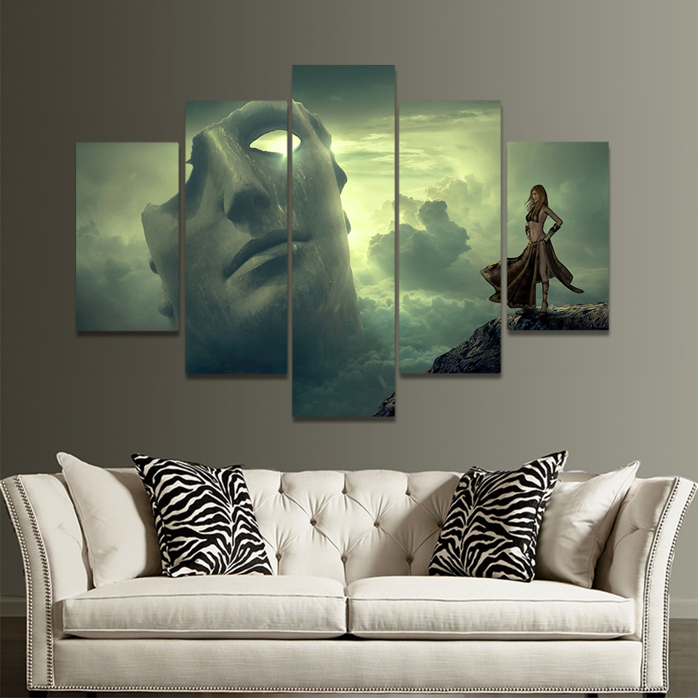 Unframed Canvas Painting Clouds Macro Cloud Mask Cliff Woman Picture Prints Wall Picture For Living Room Wall Art Decoration