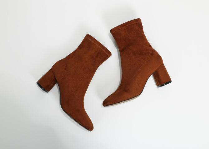 Slip Tobillo leather Zapatos Elástico Botas Inside on Grueso Otoño invierno Punta Thin Inside 2018 Inside Nuevo Cortas Tejido Leather Tacón Redonda Bota suede Mujer Europeo Negro qBf7n8H