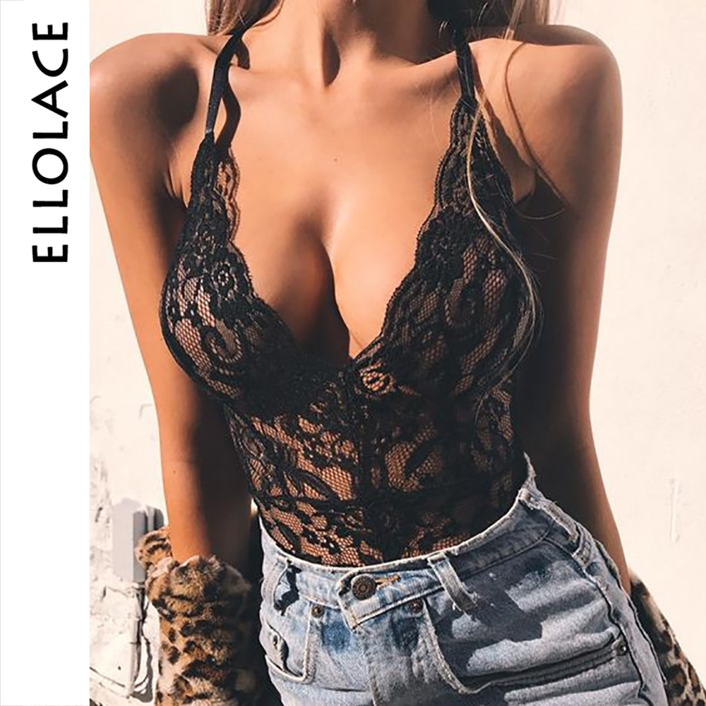 Ellolace Lace Mesh Jumpsuit Deep-V Bodysuit Hollow Out Female Body For Women Backless Sexy Bodycon Overslls Ladieds 2019 Rompers