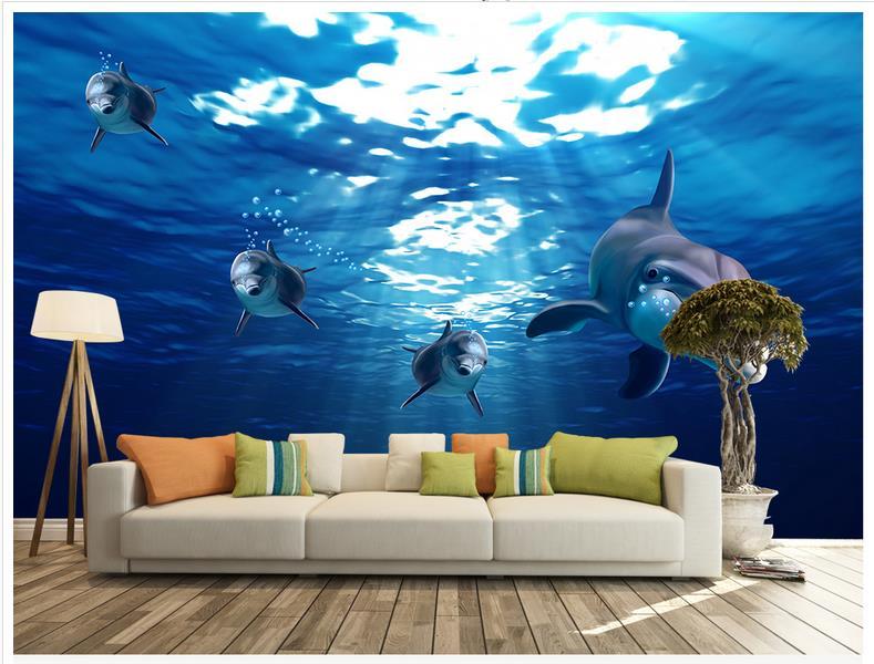 High Quality Hot Sale New Custom 3d Wallpaper Mural High Definition Beautiful Blue Dolphins Underwater World Background Wall 3d Wallpaper Murals 3d Wallpapercustom 3d Wallpaper Aliexpress