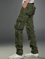 Spring Men Cotton Baggy Multi Pokect Soft Army Cargo Pants Casual Overall Straight Long Outdoor Trousers