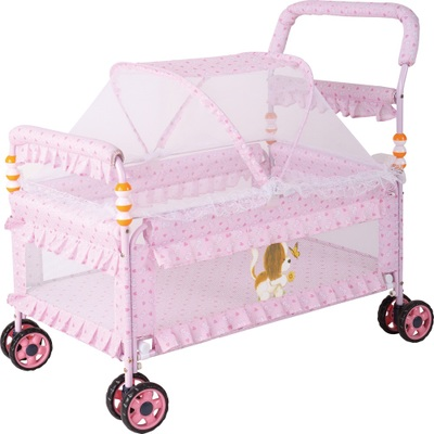 Crib simple compact portable baby bed cloth hand push bed lathe bed with mosquito net BB