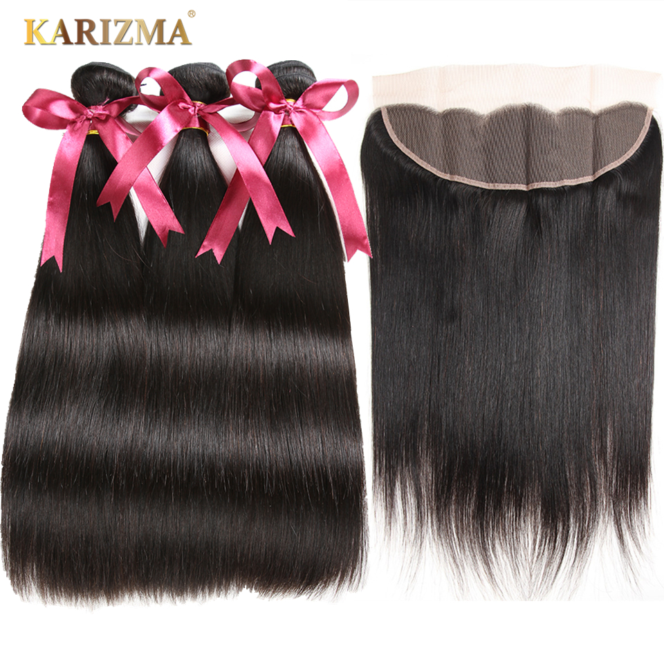 Karizma Brazilian Hair Weave Bundles With Frontal 13X4 Closure Human Hair Weave Straight Hair Bundles With