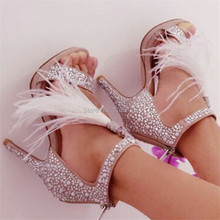 2017 Fashion Crystal Embellished Women Sandals Feather Fringed Gladiator Women Platform Pumps High Heels Stiletto Shoes Woman