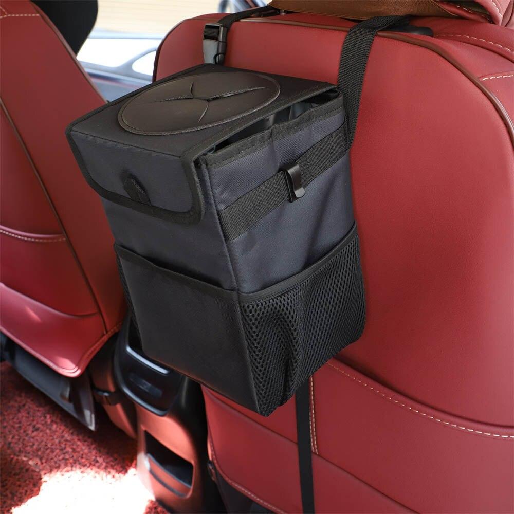 Bolsa de basura para coche bote de basura portátil para coche con tapa y bolsillos de almacenamiento a prueba de fugas dentro de la bolsa de almacenamiento para automóvil