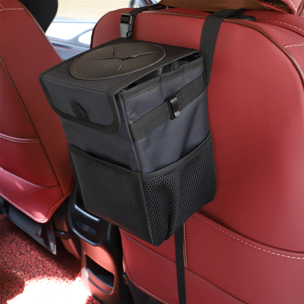 Car Trash Bag Garbage Can Portable Car Trash Can With Lid And Storage Pockets Leak-Proof Inside Lining Auto Storage Bag