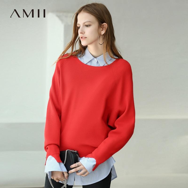Amii Minimalist Women 2019 Autumn Sweater Chic Design Swing Casual Loose Female Pullovers Sweaters
