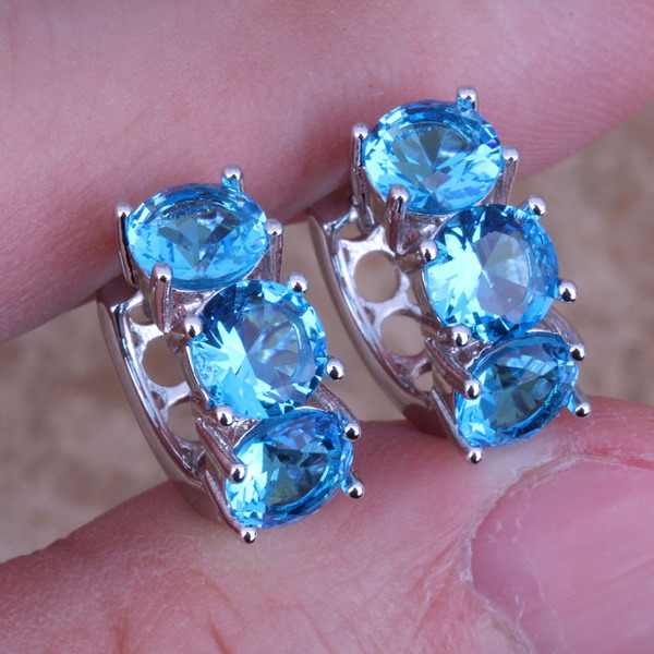 Adorable Swiss Blue Cubic Zirconia 925 Sterling Silver Huggie Hoop Earrings For Women S0229