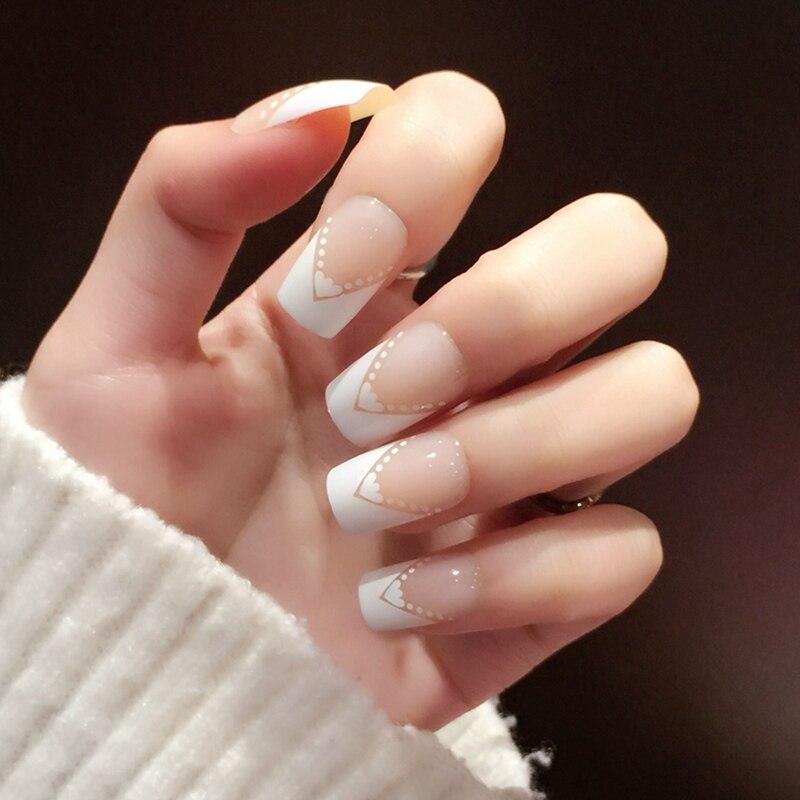 24pcs french style beige nail art