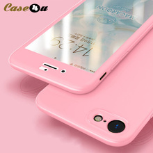 360 градусов всего тела телефон случаях + Защитное стекло для Apple iPhone 6 6S 7 8 плюс Xs 10 7 Plus 8 плюс Гладкий Жесткий ПК передний задний Чехол