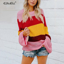 Элегантный женский зимний осенний вязаный свитер с длинным рукавом