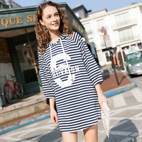 2019 Spring Stripe Casual Dress Ladies Long Sleeved Shirt Dress Women Loose Elegant Stitching Ladies Vestidos Hoodies Dresses