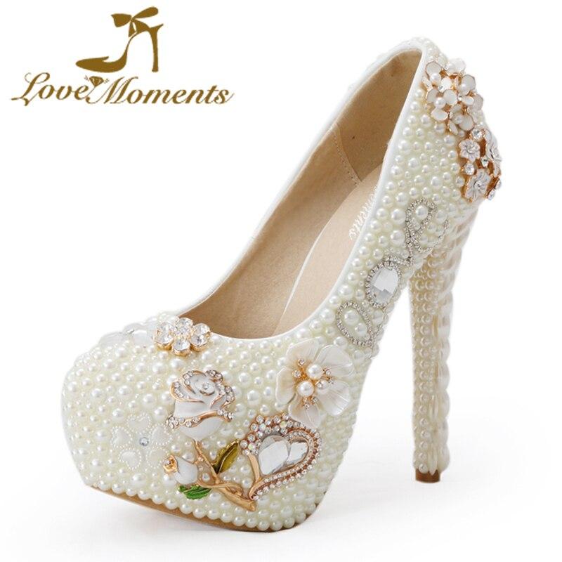 ФОТО Love Moments pearl white fashion woman wedding pumps women's high heel wedding bridal shoes rose flower large size
