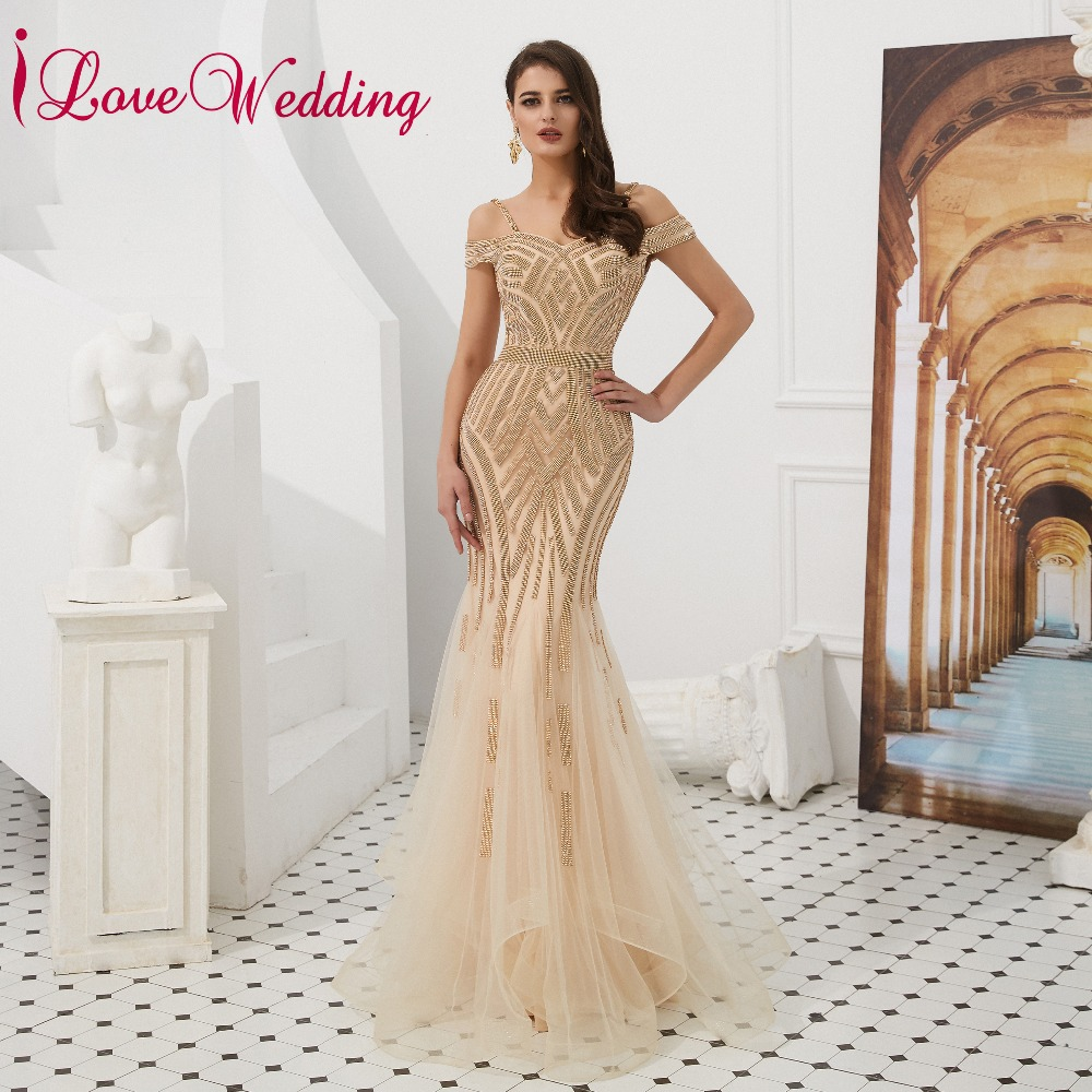 iLoveWedding Vestido de festa Luxury   Prom     Dress   2019 Sweetheart Off the Shoulder Gold Sequin Formal Long   Prom   Gown for Party