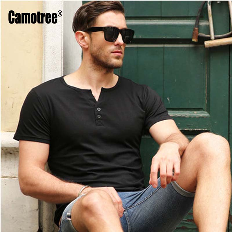 1e673bcd4ae6 New Arrival T shirt Men Tee Shirt Homme 2017 Summer Fashion V Neck with  Button Short Sleeve Henley Shirt European Style Tshirt