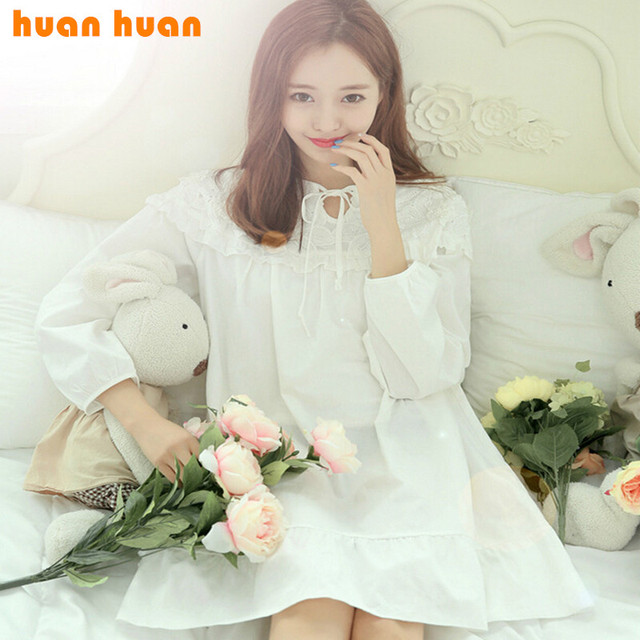 Korea new fashion high-grade cotton quality woven solid girlfriends sweet princess dress embroidered nightgown wholesale