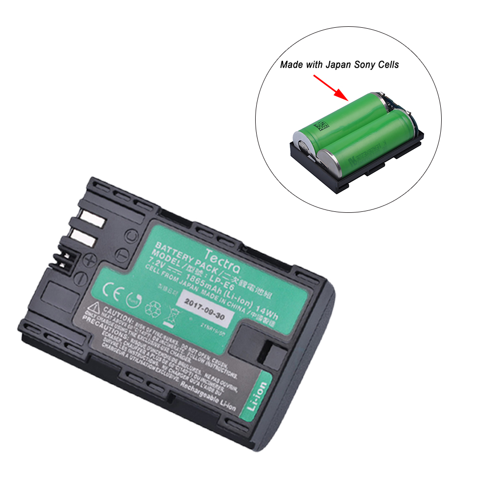 Tectra 1Pc LP-E6 LP-E6N Battery with High Quality Japan SONYCells for Canon EOS 5DS 5D Mark II Mark III 6D 7D 60D 60Da