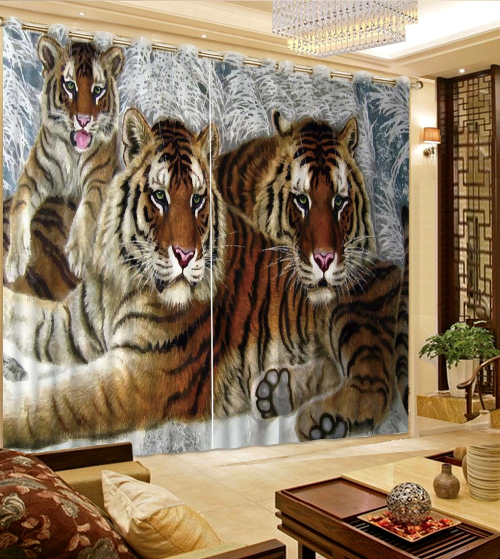 Custom Classic Tiger 3d Curtain For Children Room Printed