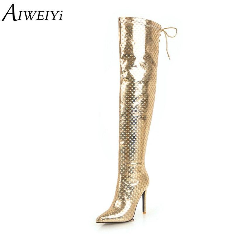 AIWEIYi or argent sur le genou bottes pour femmes bout pointu plate-forme pompes mince talons hauts bottes de danse talons aiguilles