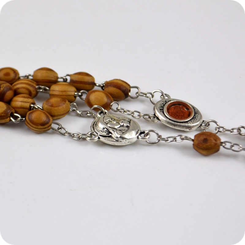Święta ziemia TERRA jerozolima owalne drewno różańce INRI jezus krzyż krucyfiks wisiorek naszyjniki moda katolicka biżuteria religijna