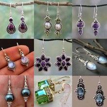 Vintage Purple Crystal Drop Earrings Female Zinc Alloy Popular Geometric Earrings цена в Москве и Питере
