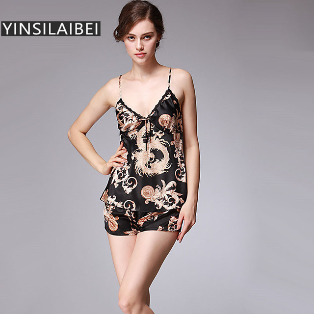 6e770b262 Dragão Cetim Conjunto De Pijama de verão para As Mulheres Sexy Camisolas  Pijamas de Seda Plus