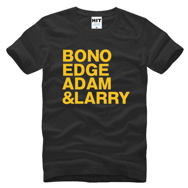 U2 BONO BORDA ADAM LARRY Música Rock Dos Homens Camisa Dos Homens T Tshirt 2016 Nova Manga Curta O Pescoço de Algodão T-shirt Tee Camisetas Hombre