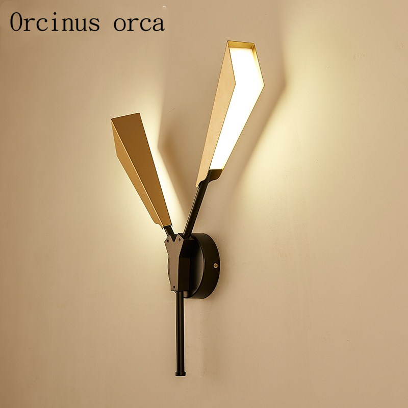 Işıklar ve Aydınlatma'ten LED İç Mekan Duvar Lambaları'de Iskandinav moda yaratıcı bambu yaprakları duvar lambası oturma odası koridor yatak odası başucu lambası modern ışık lüks demir led duvar lambası title=