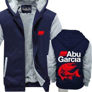 Image 3 - new arrived ABU GARCIA shubuzhi men winter padded zipper sweatshirt fashion casual hoodies thick fleece jacket coat hoody