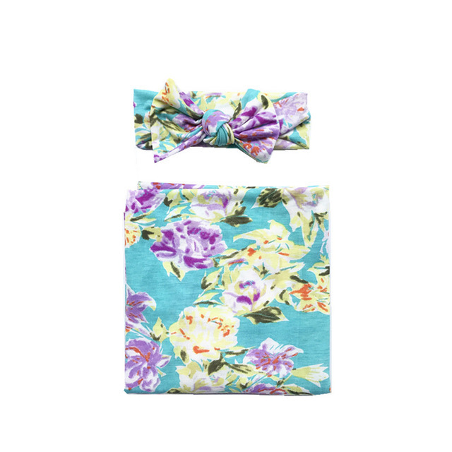 Floral Swaddle with Headband -Tiffany