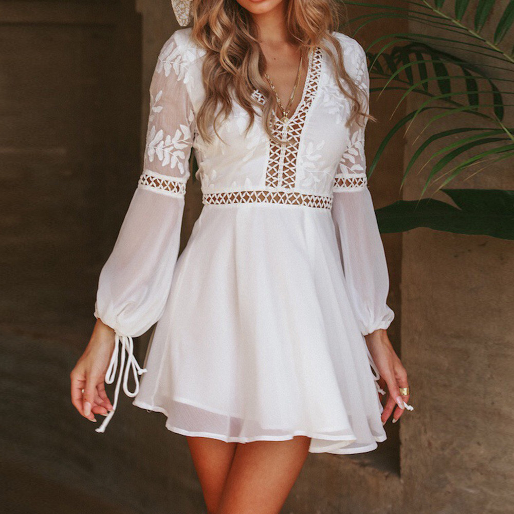 Women Solid V-Neck Lace Patchwork Long Sleeve Backless Party Bandage Mini Dress #4S19 #F
