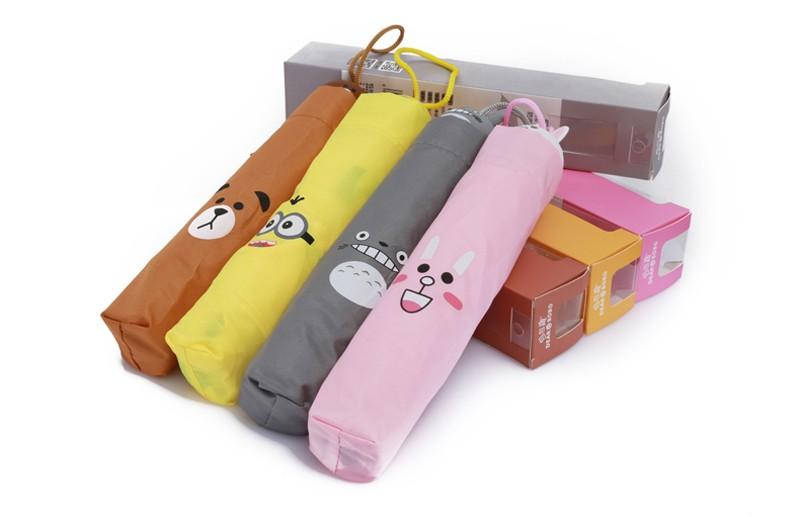 Creative Cute Cartoon Bear Rabbit Totoro Villain Children Umbrella 3 Folding Pongee Windproof Rain Umbrella For Kids12