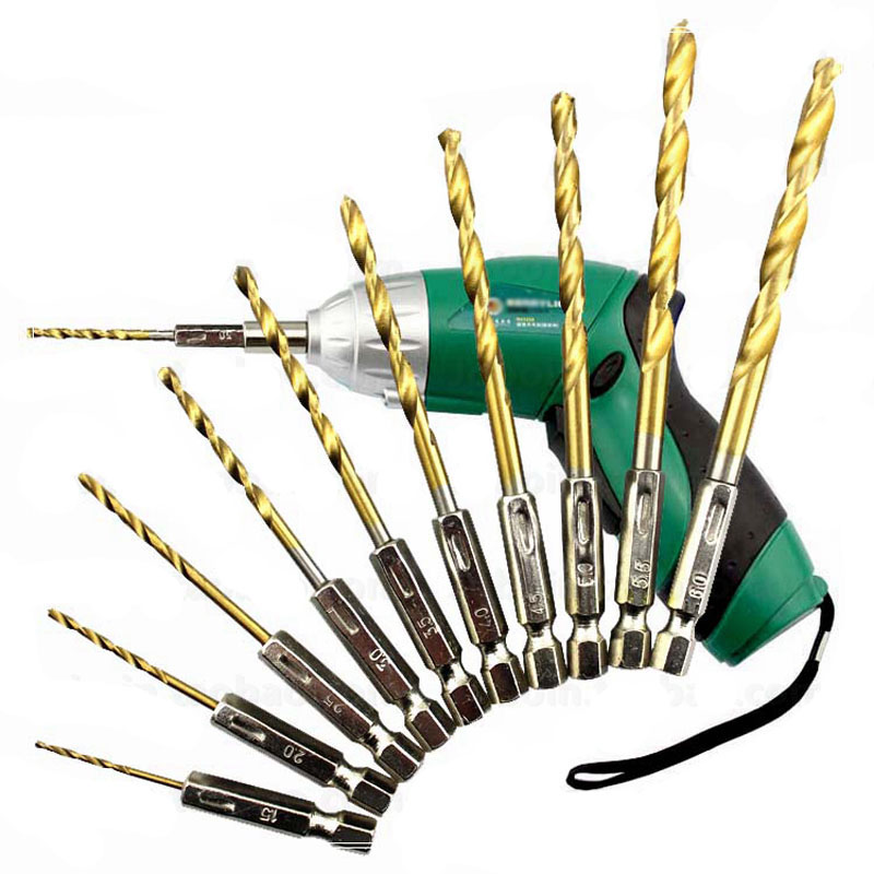 13pcs/lot High Speed Steel HSS Titanium Coated Drill Bit Set 1/4 Hex Shank 1.5-6.5mm tungsten carbide Twist drill bits 13pcs set hss high speed steel twist drill bit for metal titanium coated drill 1 4 hex shank 1 5 6 5mm power tools accessories