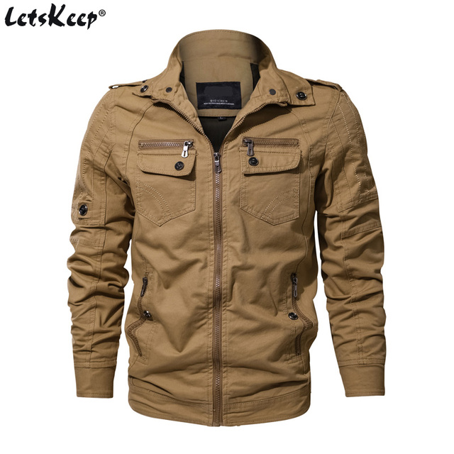 0bae6cdd38898 LetsKeep M-6XL Autumn Army Bomber Jacket Men Cotton Military Jackets Mens  Stand Collar Coats Multi Pockets Large Size , MA497