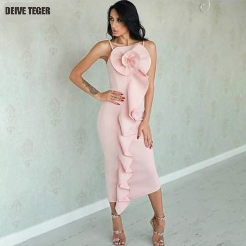 DEIVE TEGER New Summer Dress Women Sexy Sleeveless Patchwork Ruffles Floral Bodycon Vestidos Pink Celebrity Party Dress Clubwear