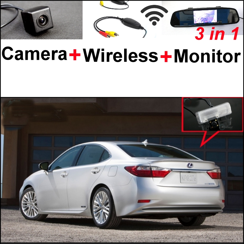 3 in1 Special Camera + Wireless Receiver + Mirror Monitor Easy DIY Parking System For Lexus ES250 ES 250  ES300h wireless pager system 433 92mhz wireless restaurant table buzzer with monitor and watch receiver 3 display 42 call button