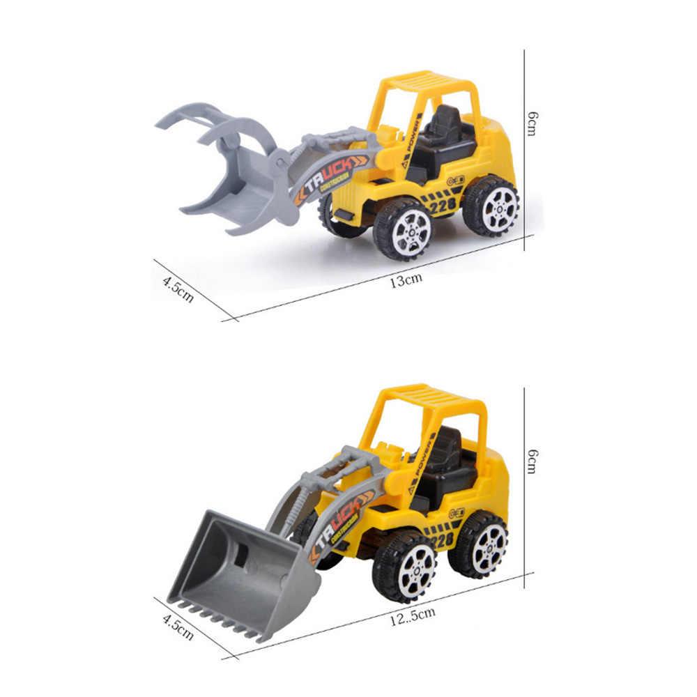 Anak-anak Mini Kendaraan Konstruksi Mainan Bulldozer Peta Roller Excavator Model Truk Traktor Mainan untuk Anak Laki-laki Acak Dikirim
